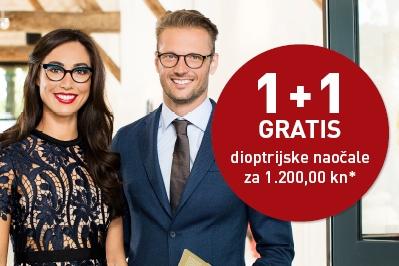 1+1 gratis dioptrijske naočale za 1.200,00 kn