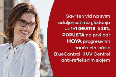 25% popusta na HOYA progresivne naočalne leće ili drugi par gratis