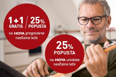 25% popusta na HOYA uredske naočalne leće