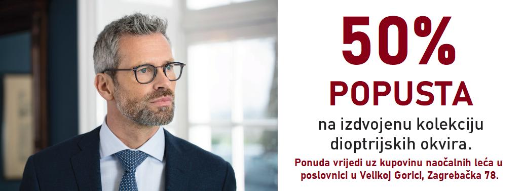 50-70% popusta na dioptrijske okvire uz kupovinu naočalnih leća u Velikoj Gorici